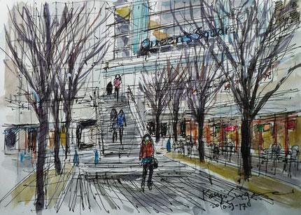 みなとみらいのクイーンズスクエア横浜の広場