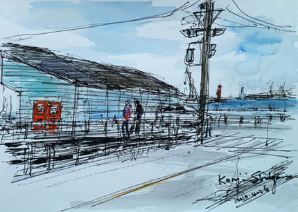 神奈川県鎌倉市・腰越漁港の倉庫と腰越橋