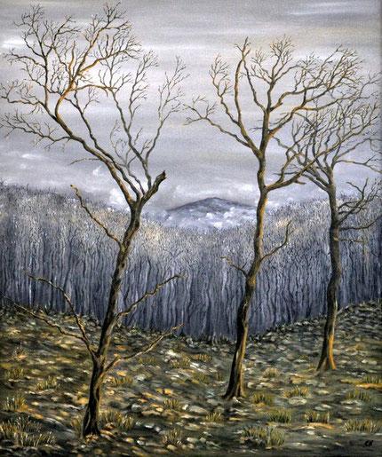 Drei kahle Bäume vor Nebel Ölmalerei