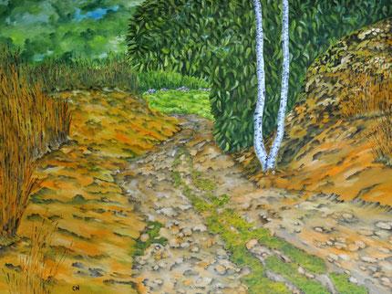 Ölbild Schotterweg und ein kleines Stückchen grüner Wiese