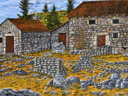 Ölbild eines alten Anwesens