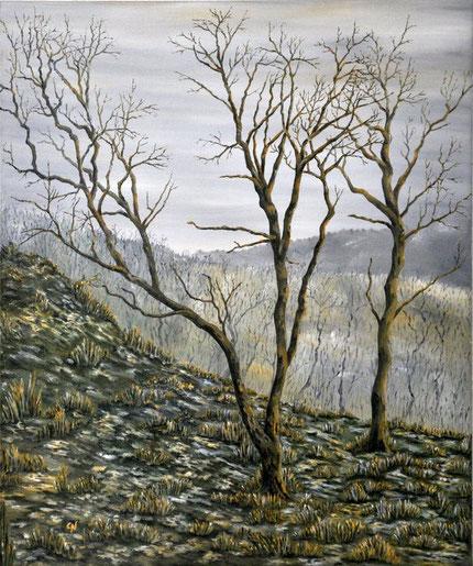 Ölmalerei von Bäumen im Winter