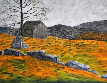 Ölbild von einem kleinen einsam gelegenen altem Haus