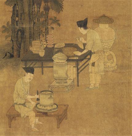 Serviteurs préparant le thé- Détail d'une peinture Song / National Palace Museum Taipei, Taïwan