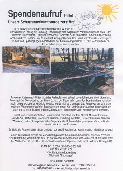 Spendenaufruf Waldkindergarten Wentorf
