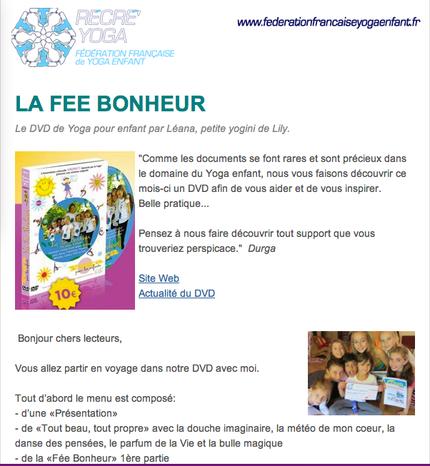 """""""La Fée Bonheur"""" présentée par Léana dans la newsletter de la """"Fédération française de yoga enfant"""""""