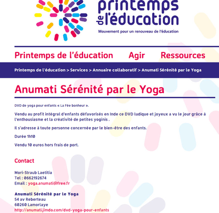 """""""La Fée Bonheur"""""""" dans l'annuaire collaboratif de """"Printemps de l'éducation"""""""