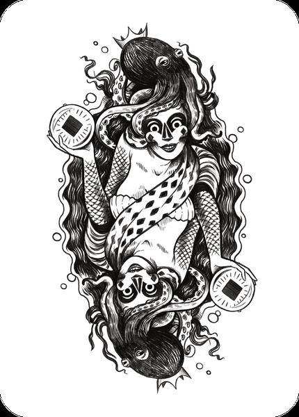illustration - maritime dame mit octopus und kugel