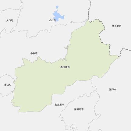 春日井市と近辺の市の地図