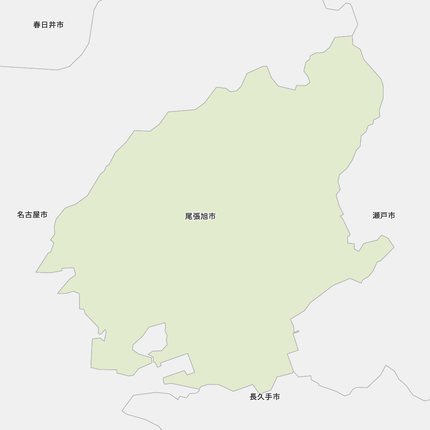 尾張旭市と近辺の市の地図