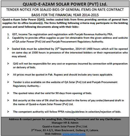 Tender Notice for General Items