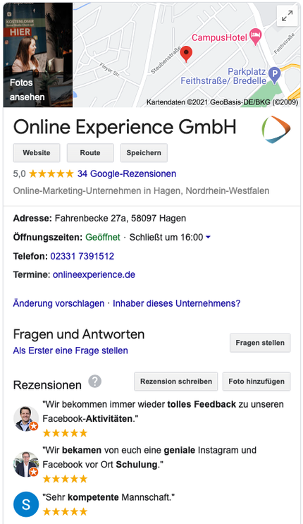Google MyBusiness Profil Online Experience