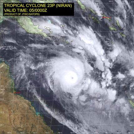 Satellite image of Tropical Cyclone Niran. From JTWC