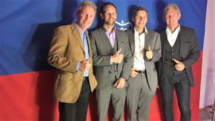 Die Vertreter des Triathlons an der Nacht des Sports: Philip Schädler, Marc Ruhe, Christian Harzenmoser, Michael Schädler (vlnr)