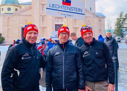 Philip Schädler, Walter Winfried und Michael Schädler (vlnr) vertraten Liechtenstein bei der Wintertriathlon WM