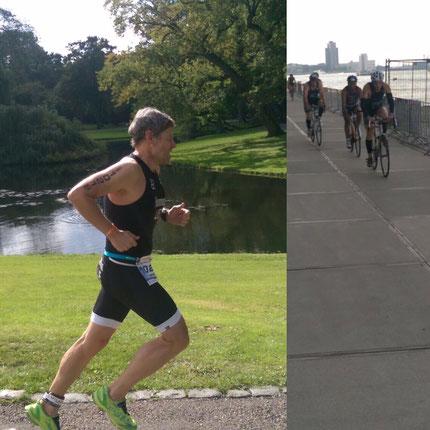 Christian Harzenmoser auf der Laufstrecke, Philip Schädler am Anfang der Radstrecke