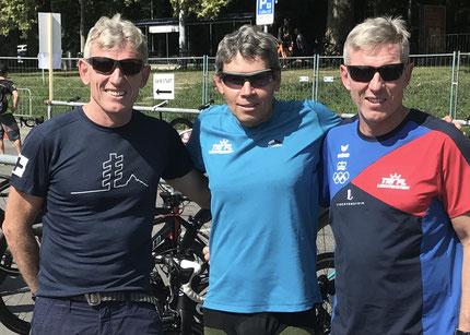 Starteten in der AK 55-59 an der Age Group WM in Lausanne: Michael Schädler, Christian Harzenmoser, Philip Schädler (vlnr)