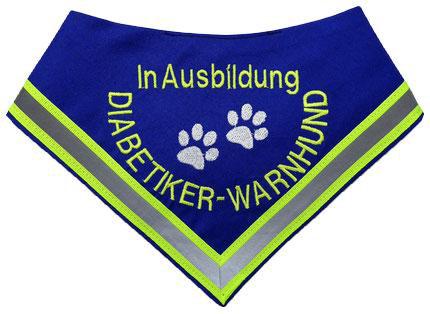 Diabetiker Halstuch , Warnhund, Pfoten, Reflektorband, Leuchtband, Hund