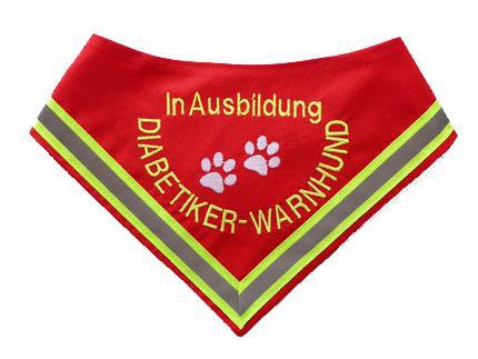 Halstuch für Diabetikerwarnhunde, Diabetiker, Diabetes, Hundehalstuch, Warnhund, In Ausbildung.