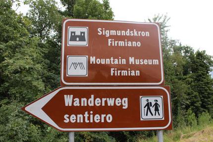 """In wenigen Minuten erreicht man über den """"Wanderweg"""" beim Parkplatz Sigmundskron"""