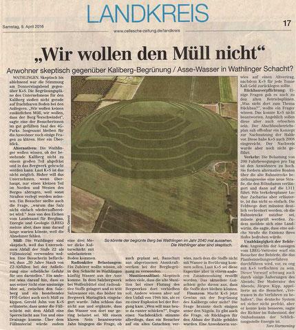 Quelle: Cellesche Zeitung, 09.04.2016