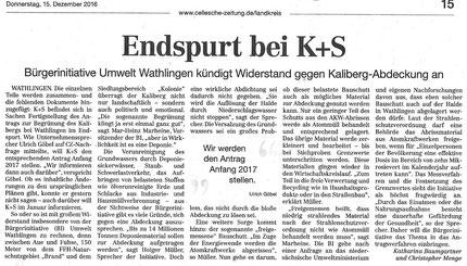 Quelle: Cellesche Zeitung, 15.12.2016