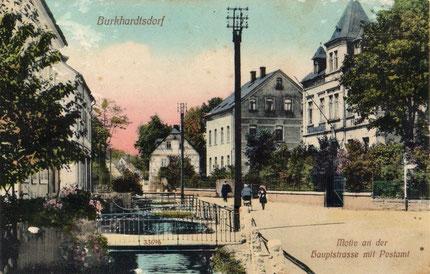 Das Postamt auf einer Ansichtskarte von 1911 (rechts im Bild)