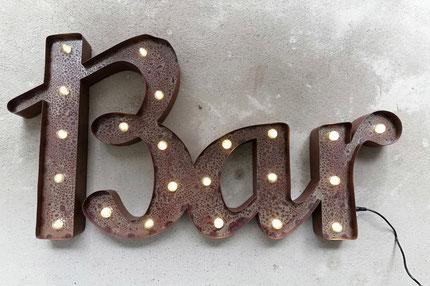 Bar Vintage LED Leuchtschrift Rusty Metall Leuchtobjekt Leuchtletters Schweiz Schriftzug