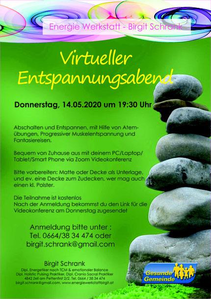 Virtueller Entspannungsabend, Donnerstag 14.05.2020 um 19:30 Uhr, online via Zoom Videokonferenz