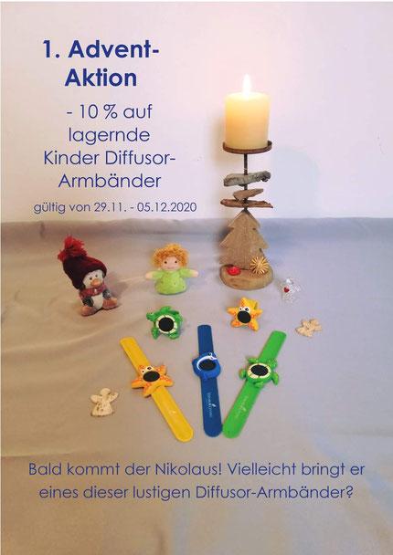 1. Advent-Aktion -10% auf lagernde Kinder Diffusor-Armbänder (gültig von 29.11.-.05.12.2020)