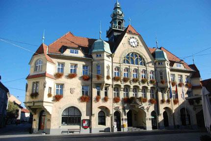 Das prunkvolle Rathaus von Ptuj