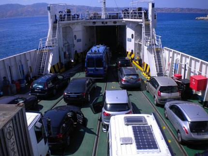 Auf der Überfahrt nach Sizilien