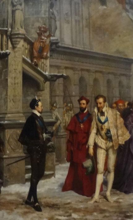 Henri III habillé de noir à gauche acceuille aimablement à Blois le duc de Guise et son frère le cardinal. Source Laure Trannoy. 2016