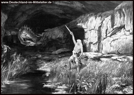 Siegfried tötet den Drachen 'Fafnir'Gem. v. H. Hendrich