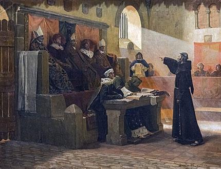 """Castelnaudary, en 1319 : le franciscain Bernard Délicieux, meneur des Spirituels, devant le tribunal de l'Inquisition. Peinture """"L'agitateur du Languedoc"""" par Jean-Paul Laurens (Toulouse, Musée des Augustins)"""