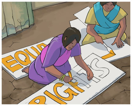 Cartoon picture of women working on equal rights poster
