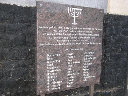 Gedenkstein für die Familie Bauer und Frank in Gedern