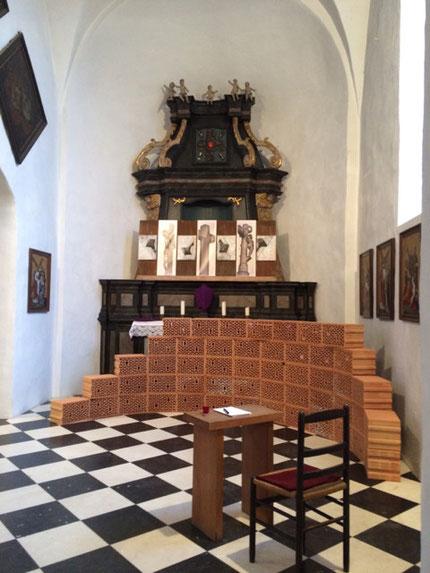 """""""Mit LEID"""", Annette Palder, KREUZrundWEG, St. Sebastian, Friesenhagen, sakrale Kunst, Rheinland Pfalz,"""