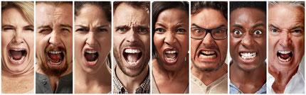 wütende Gesichter, Männer und Frauen, Wut, Hass, schreien