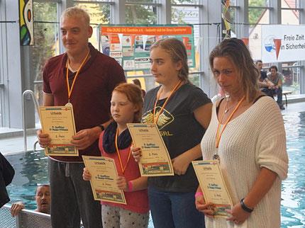 Marcel und Mandy Gäde mit Tochter Hannah und Sarah Lange belegen Platz zwei in der Teamwertung. Foto: Alpha-Report