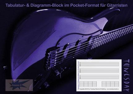 Deckblatt zum Pocket-Notizblock für Gitarristen: Tabulatur & Diagramme (TB01)