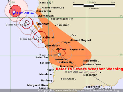 Track map  of Tropical Cyclone Seroja. From BoM, 11/04/2021