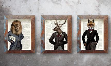 Antike Illustrationen Steampunk Kunstdruck Tiere Fauna im Kostüm Vintage Anzug Fabelwesen Nostalgie Druck Bild im Fundholz Recycling Bilderrahmen 3