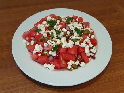 Watermeloensalade met olijven (Doelgericht Coaching)