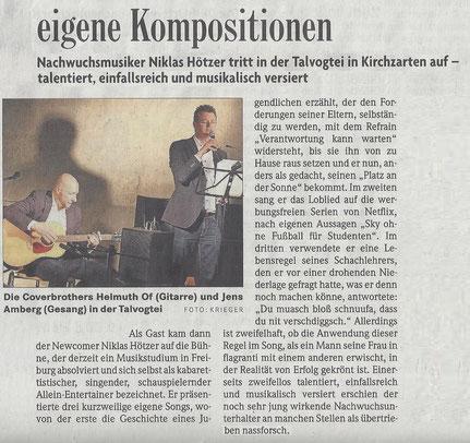 Niklas Hötzer tritt in der Talvogtei in Kirchzarten auf - zweifellos talentiert, einfallsreich und musikalisch versiert