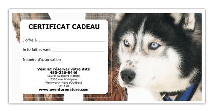 imprimez votre certificat cadeau vous même pour une ballade en traîneau à chiens