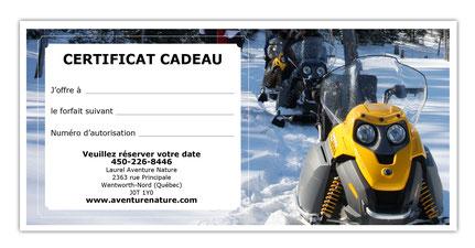 imprimez vous même votre certificat cadeau pour une sortie en motoneige