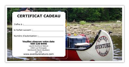 imprimez votre certificat cadeau vous même pour un séjour en Rabaska