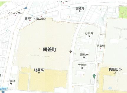 現在の地図。寺の並びは江戸時代のまま