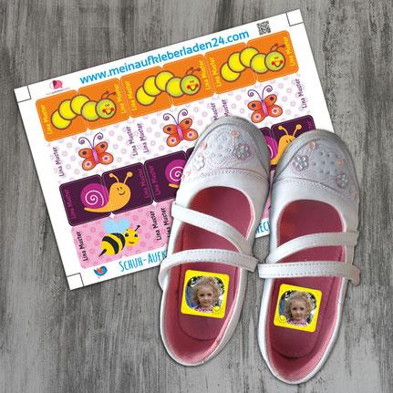 niedliche Schuhaufkleber mit Namen oder Foto, auch zweiteilige Motive